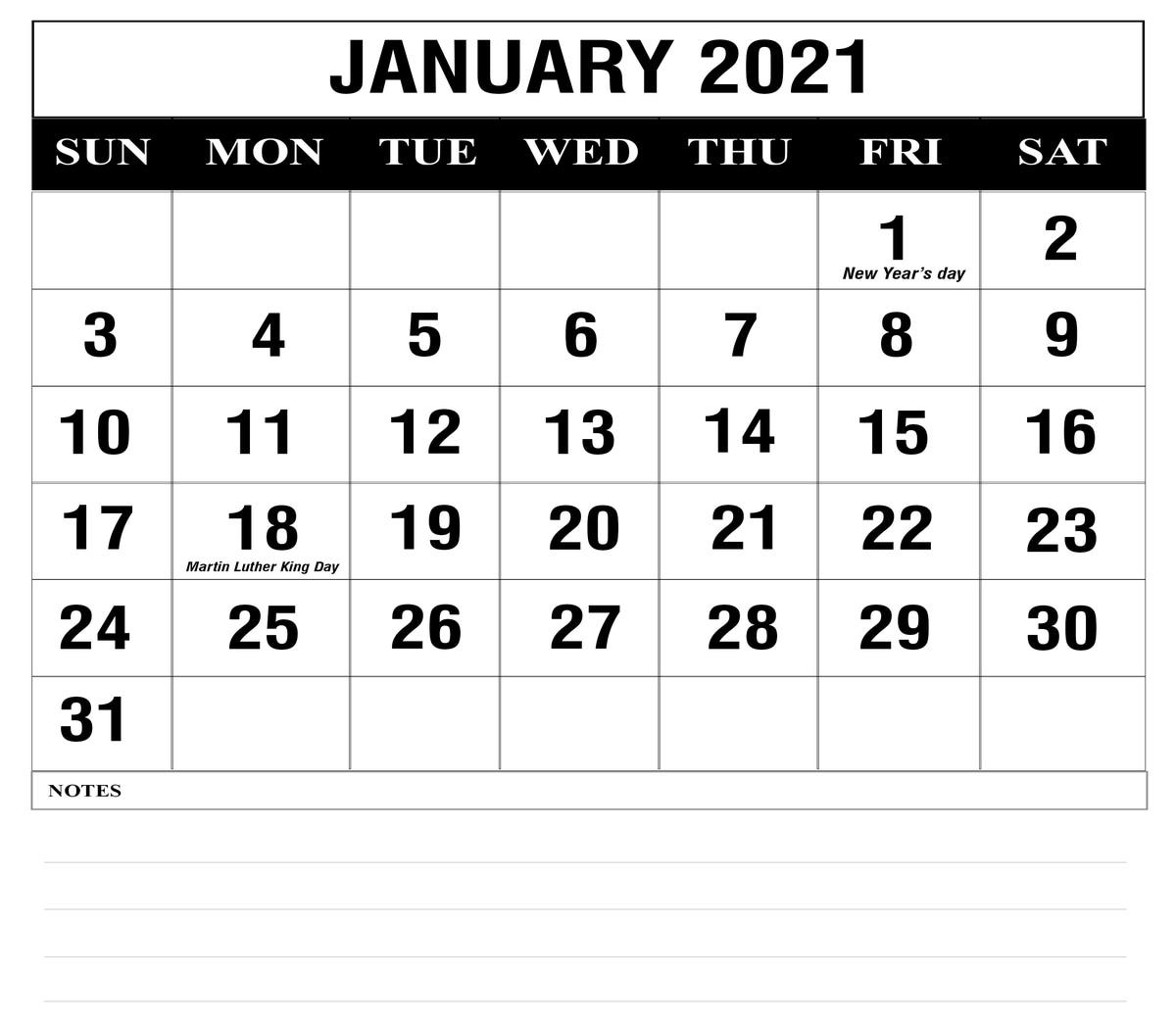 Free January 2021 Printable Calendar Template In Pdf, Excel, Word | Printable January Calendar