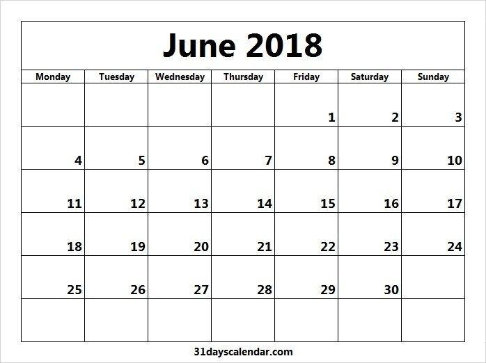 Free June 2018 Monday Start Image & Picture For Desktop | December Calendar, November Calender