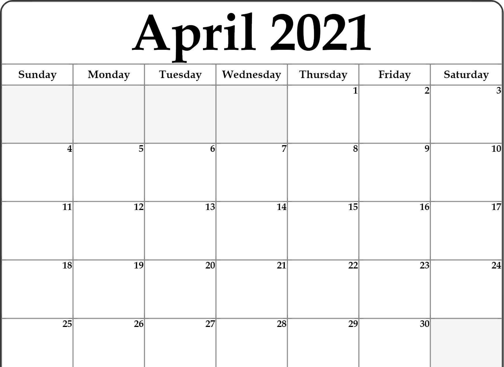Free Monthly Blank April 2021 Calendar Printable Template