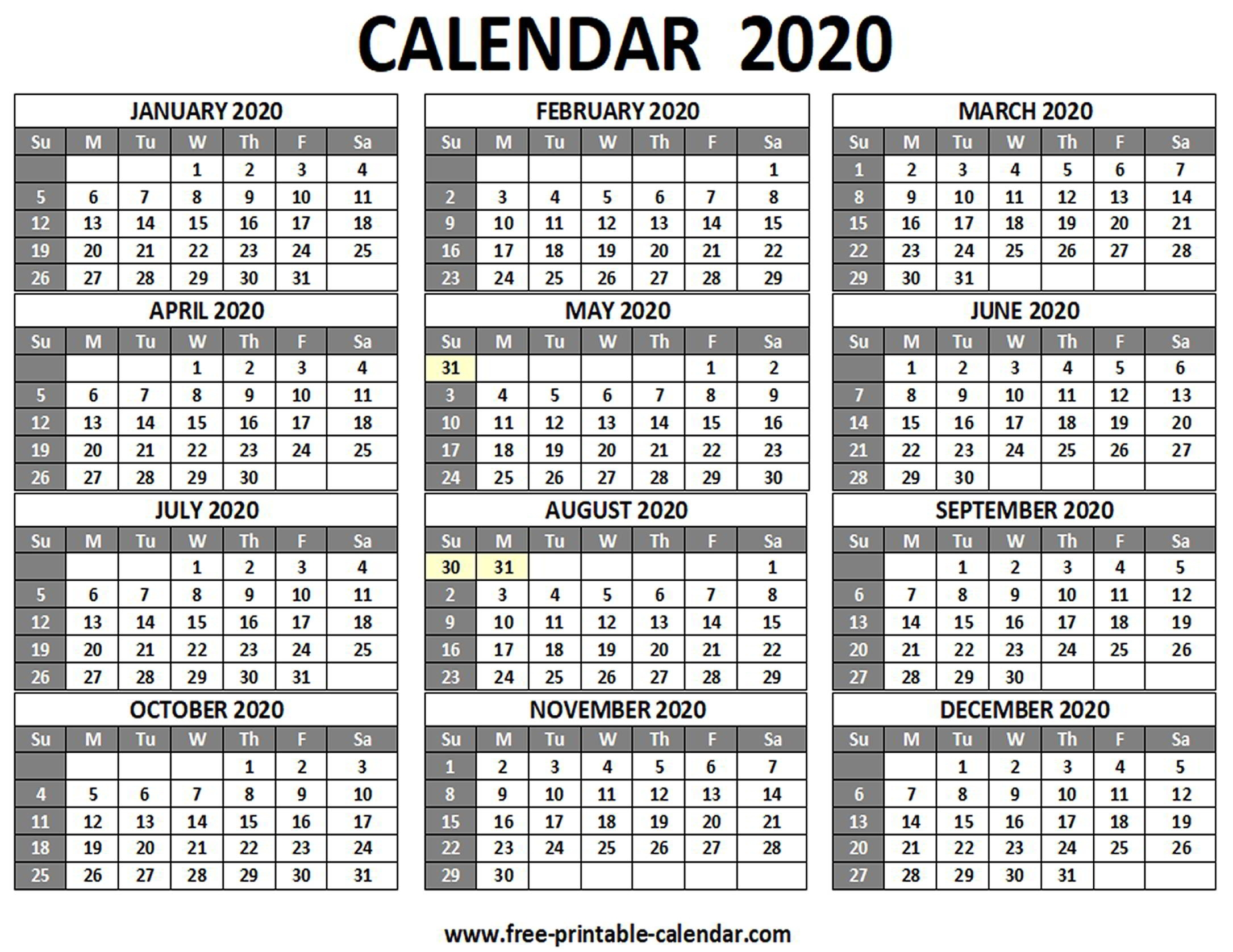 Free Printable 2020 Calendar To I Can Edit   Calendar Template Printable Monthly Yearly