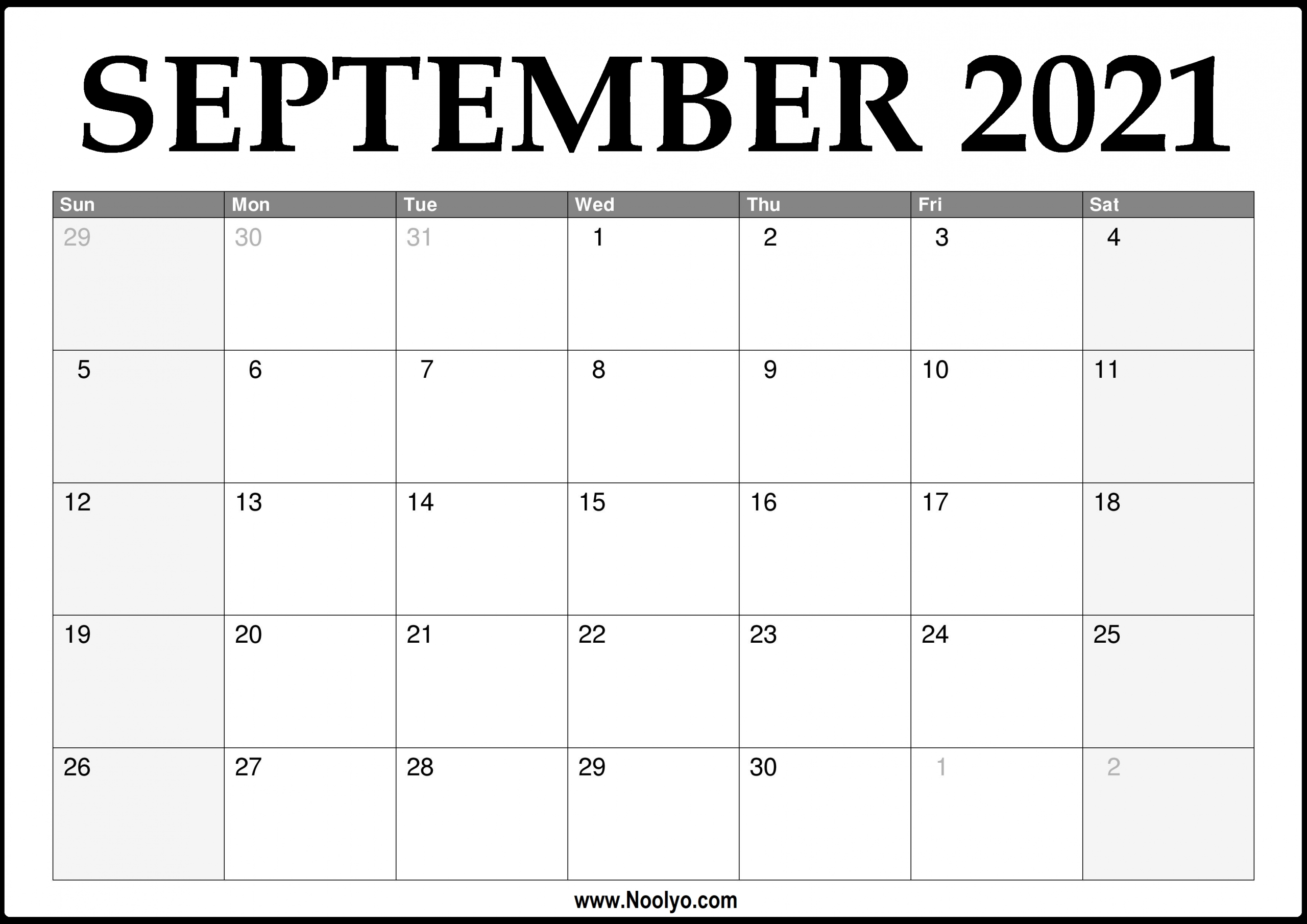 Free Printable 2021 Monthly Calendar 2021 September | 2022 Calendar