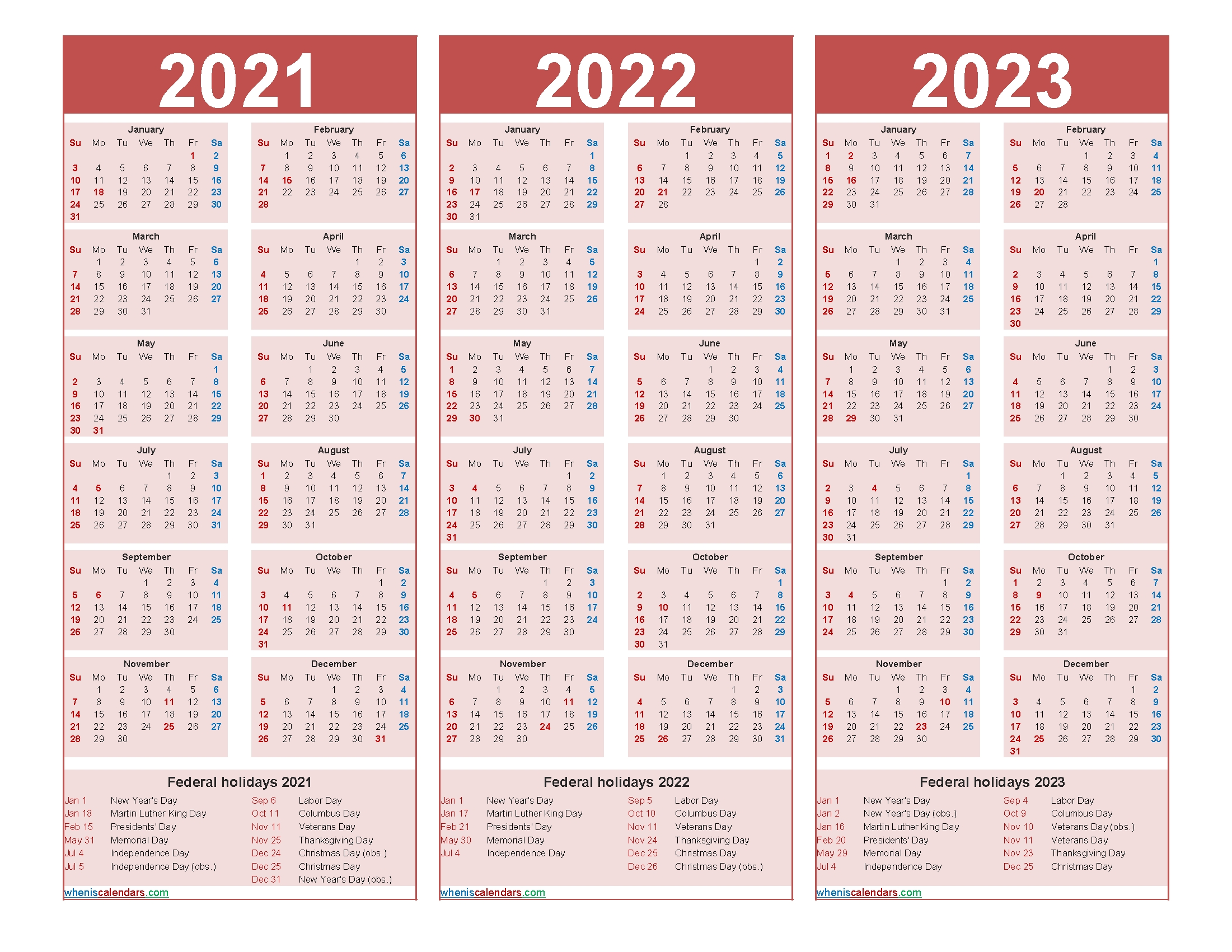 Free Printable 2021 To 2023 Calendar With Holidays - Free Printable 2020 Monthly Calendar With