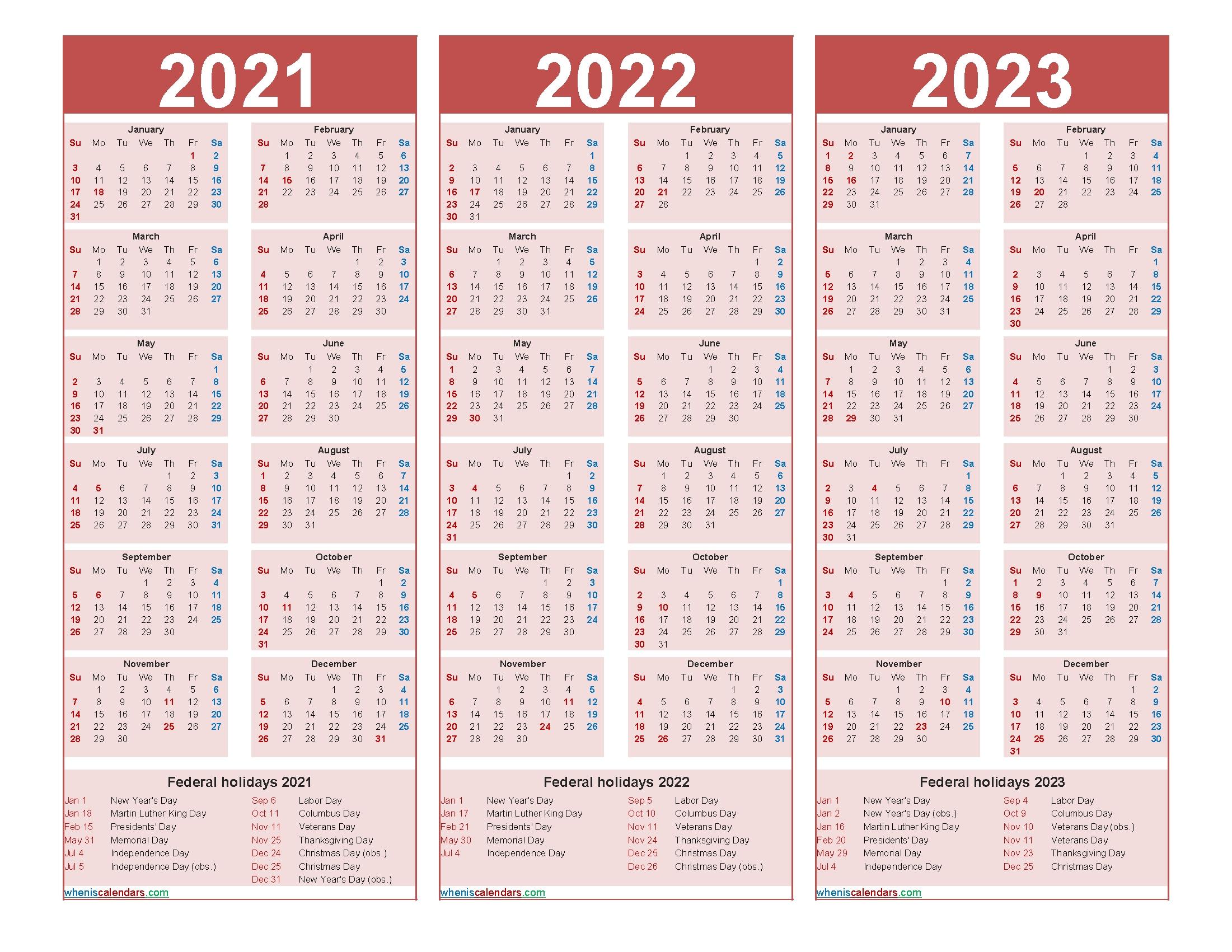 Free Printable 2021 To 2023 Calendar With Holidays - Free Printable 2020 Monthly Calendar With