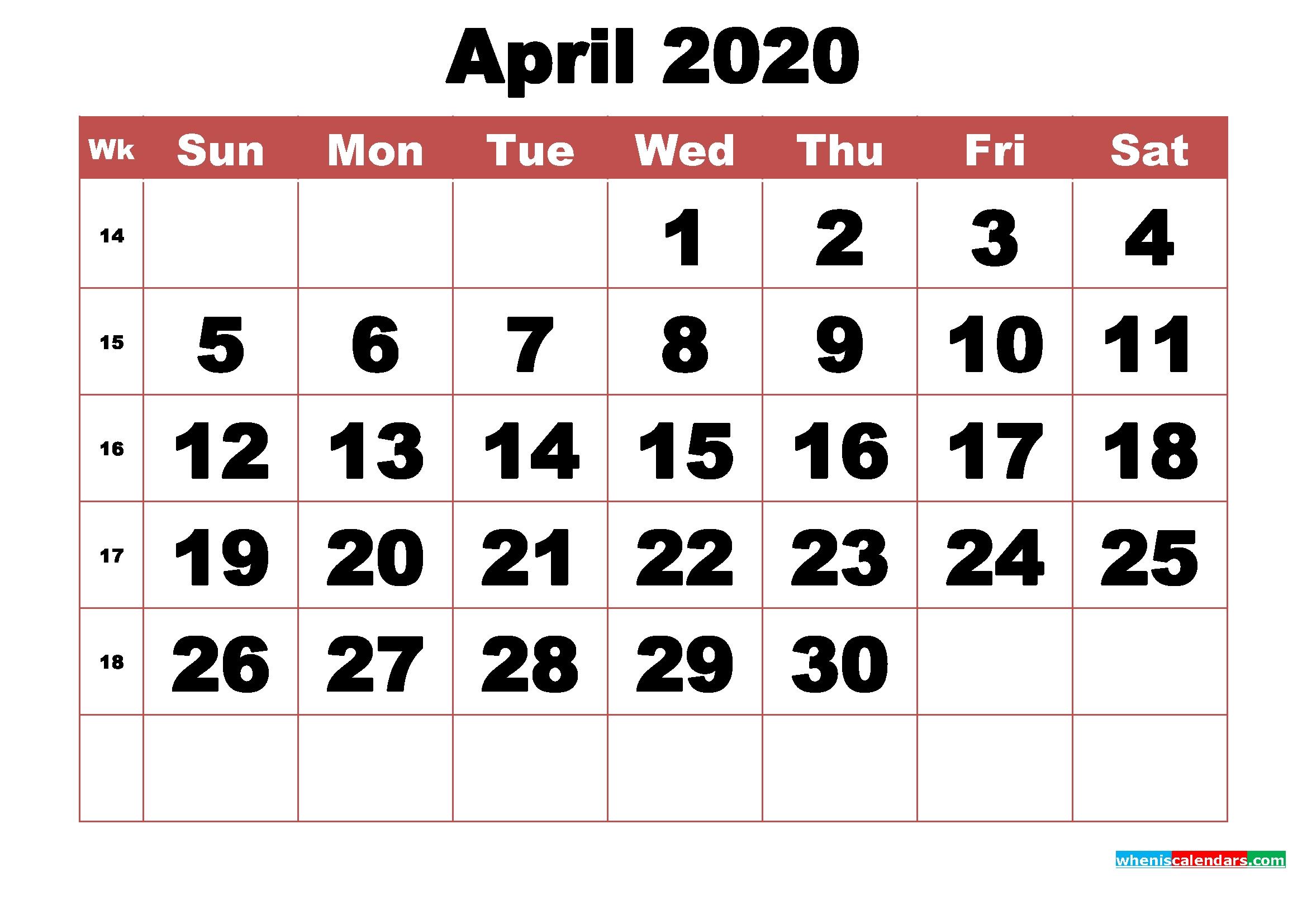 Free Printable April 2020 Calendar With Week Numbers | Free Printable 2020 Calendar With Holidays