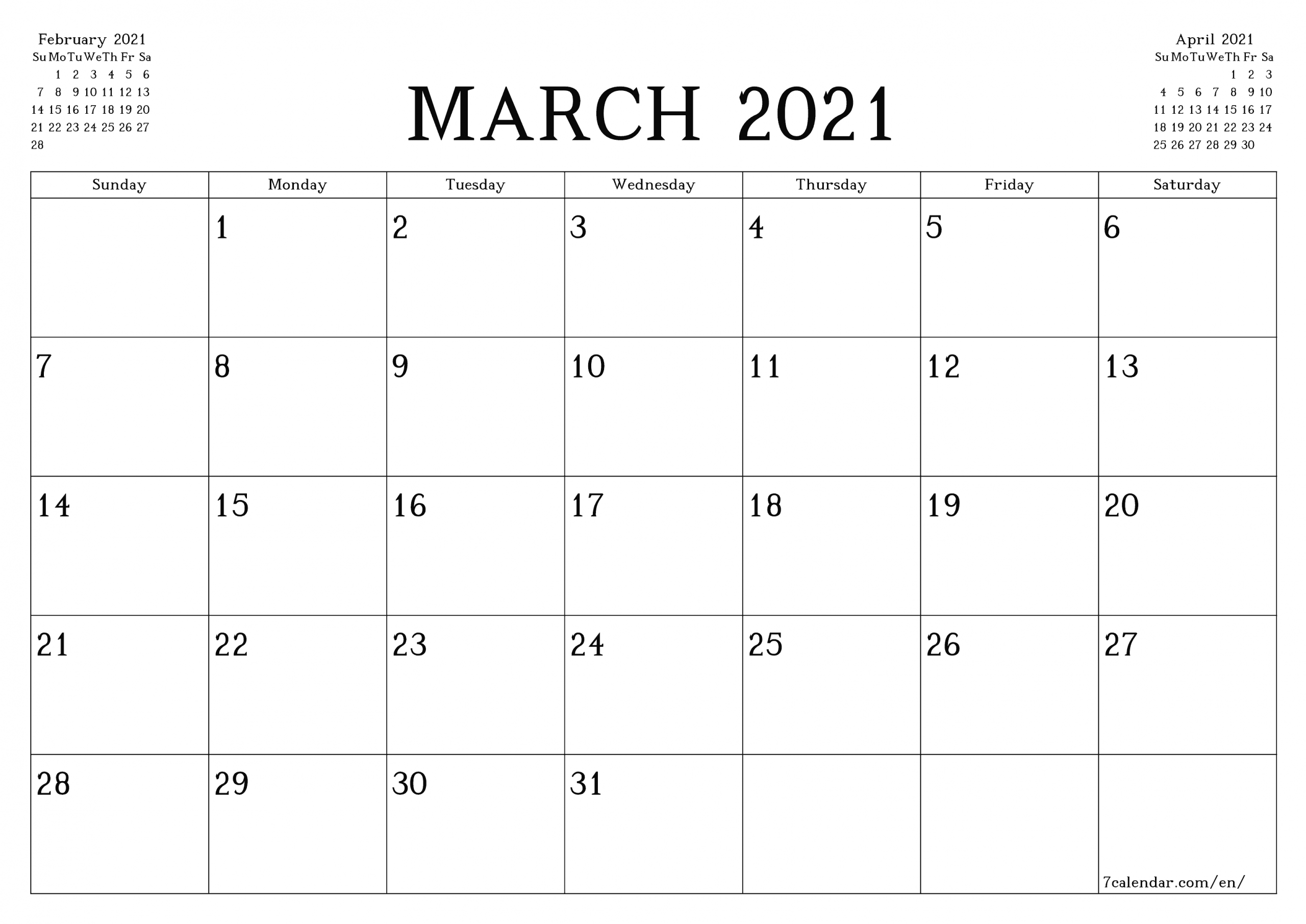 Printable Blank Monthly Calendar 2021 With Lines | Ten ...