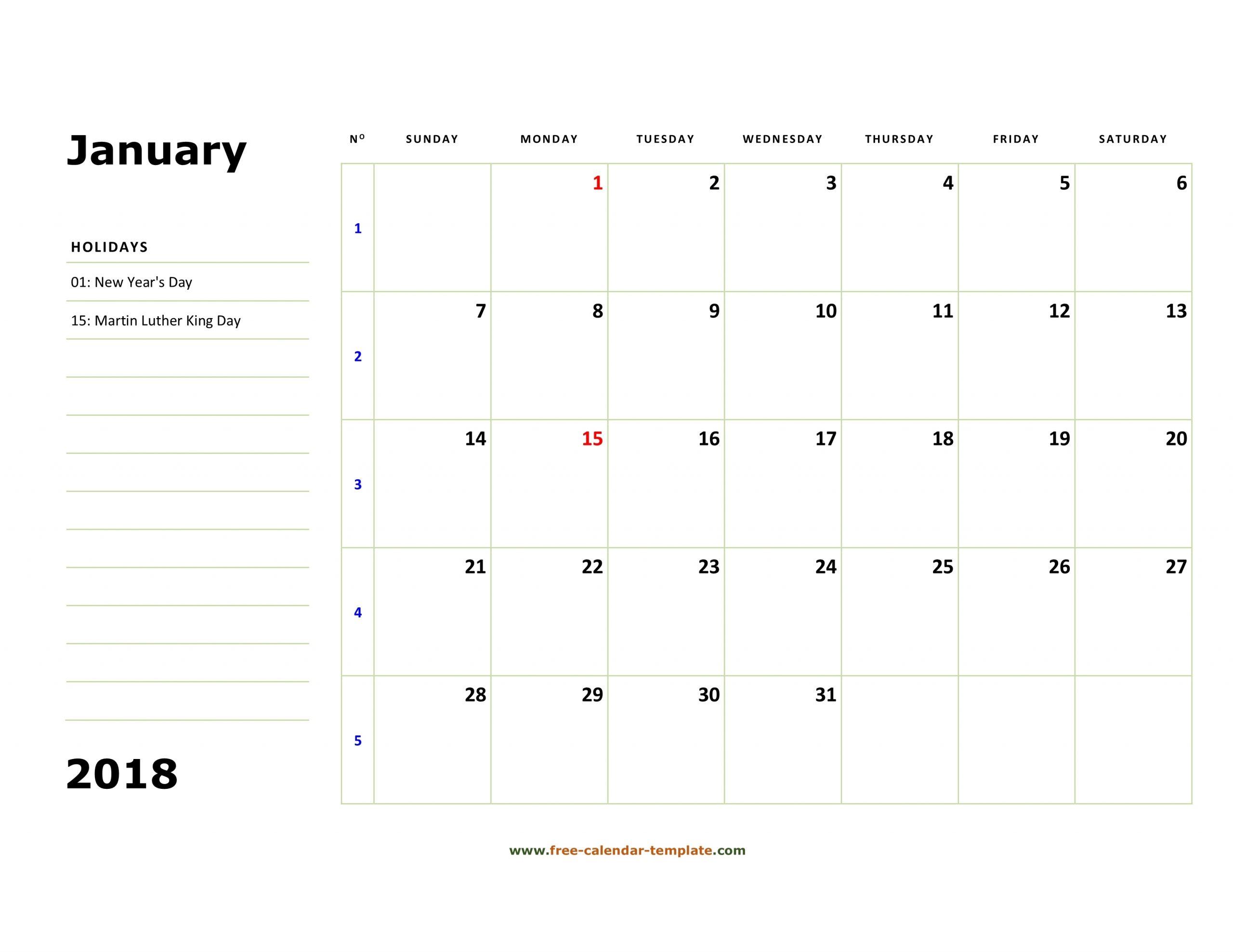 Free Printable Calendar Large Boxes | Calendar Printables Free Templates
