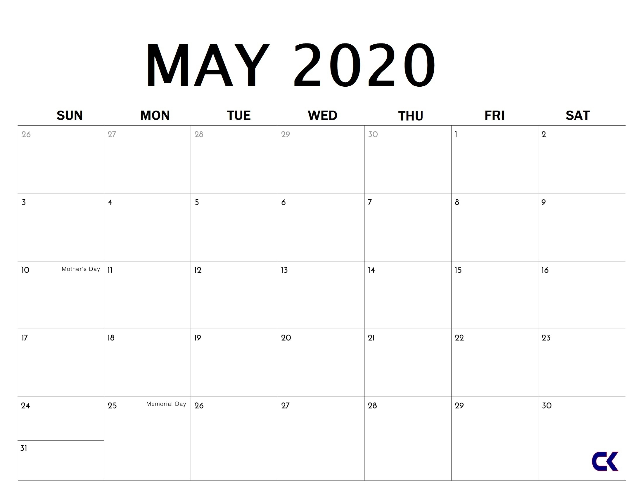 Free Printable Large Number Calendar 2020 | Calendar Template Printable Monthly Yearly