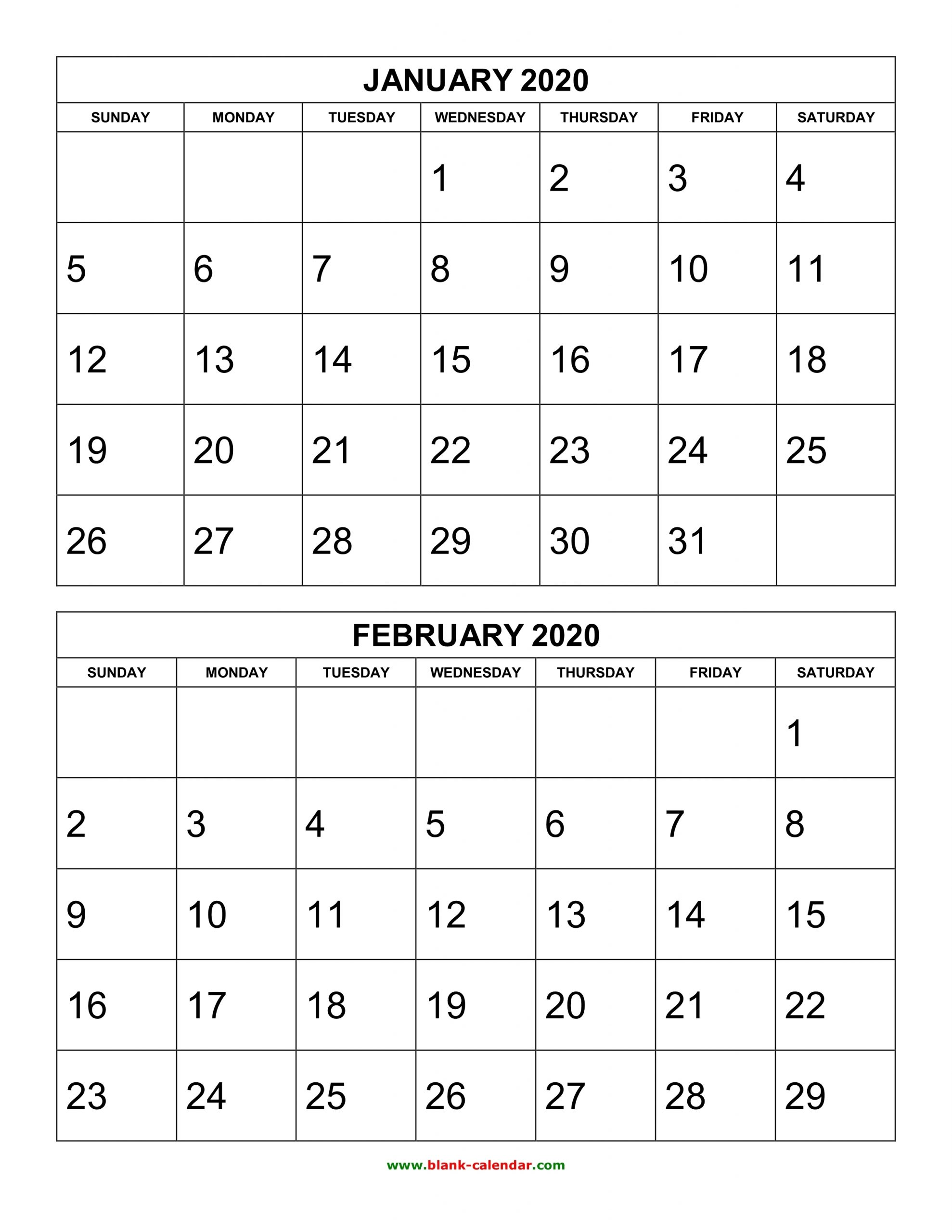 Free Printable Two Page Monthly Calendar 2020 | Example Calendar Printable