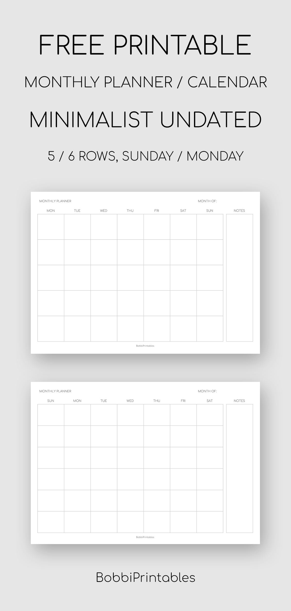 Free Printable Undated Calendar   Calendar Printables Free Templates