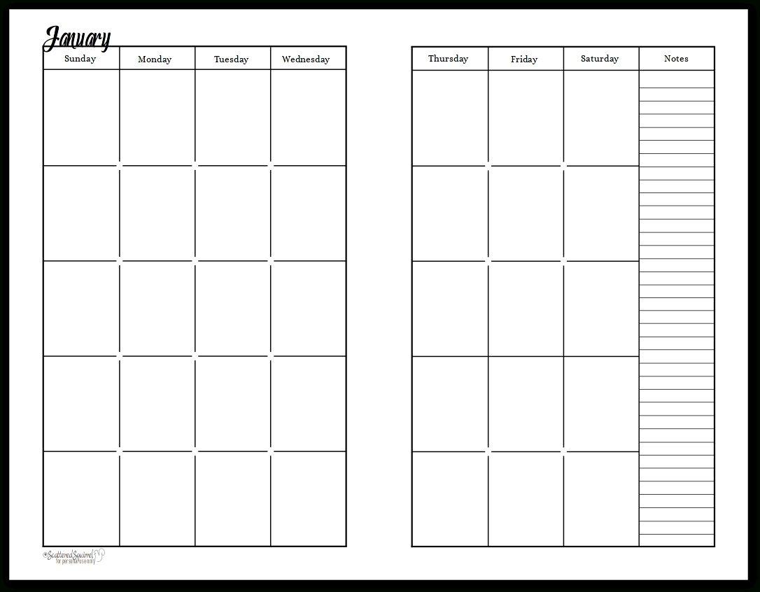 Free Printable Undated Calendar In 2020   Planner Calendar Printables, Monthly Calendar