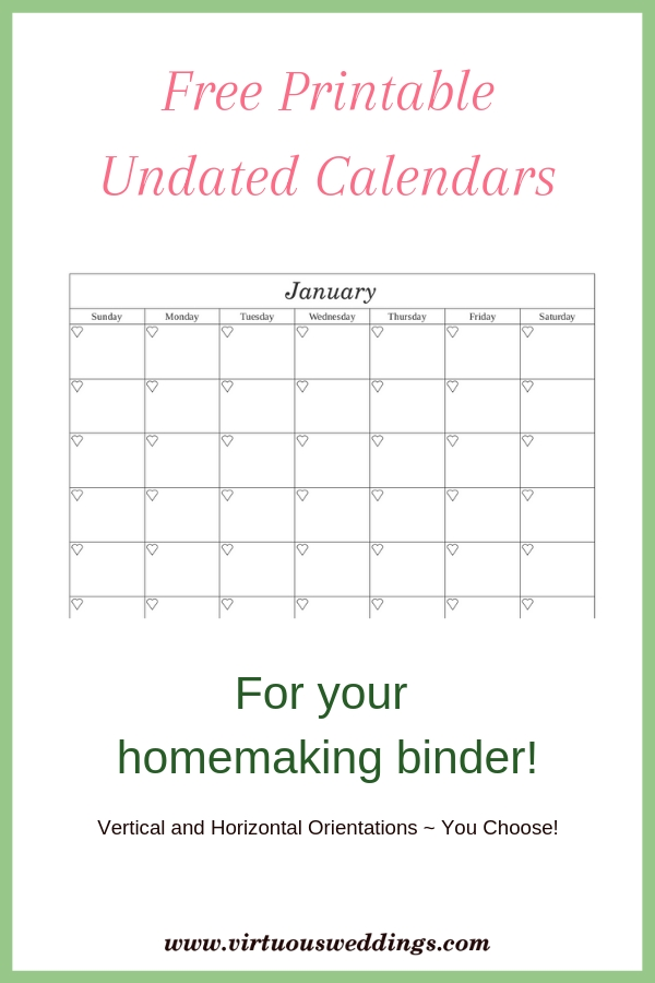 Free Printable Undated Calendars In Two Styles