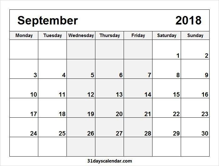 Free September 2018 Monday Start Image & Picture For Desktop   Calendar Template, 2018 Calendar