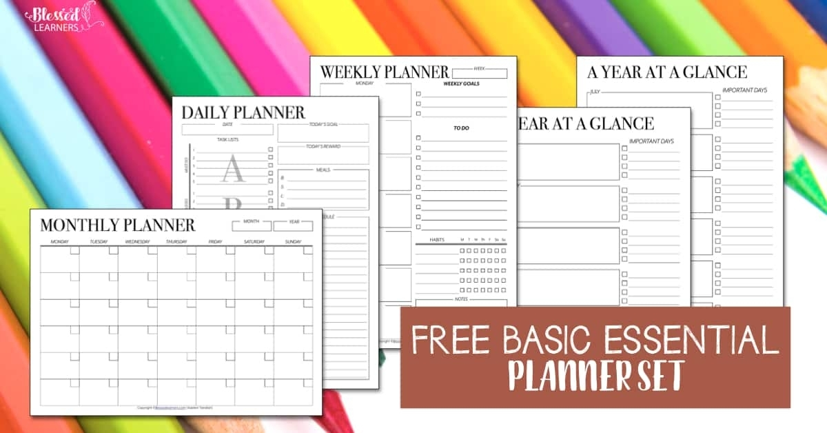 Free Set Of Printable Undated Planners - Blessed Learners