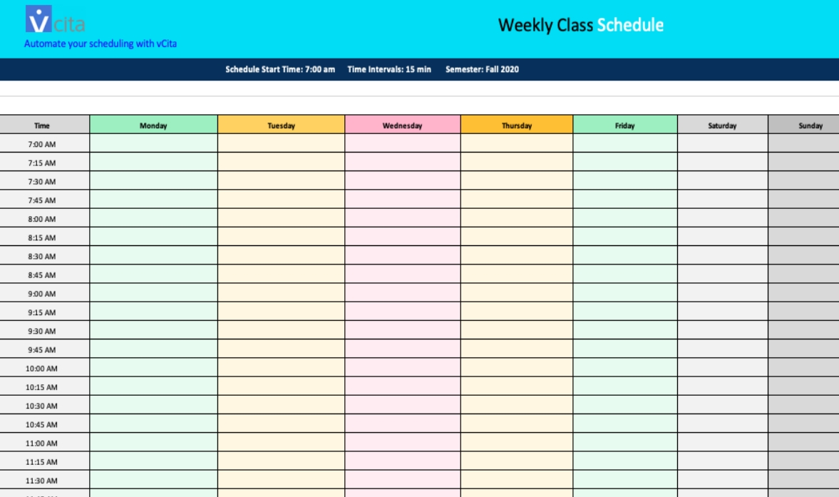 Free Weekly Schedule Templates - Download Free For Word And Excel