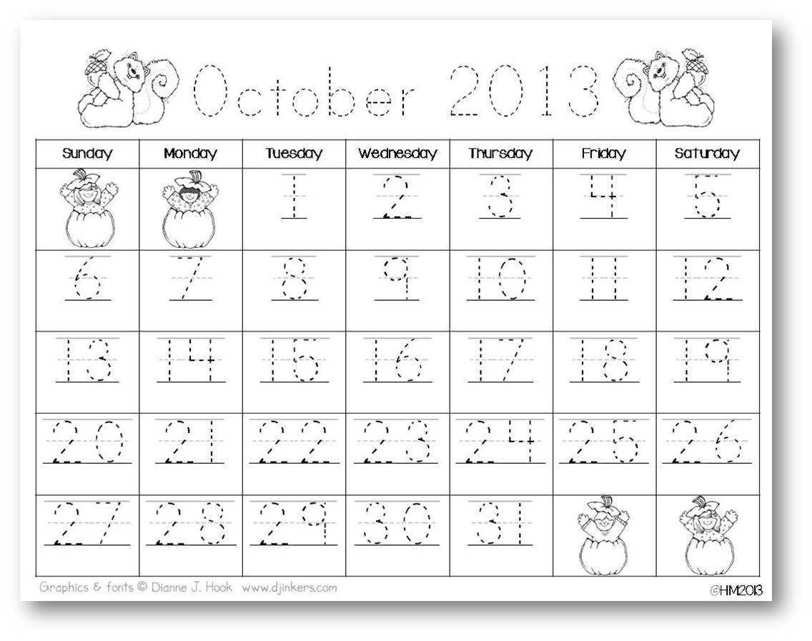 Freebielicious: Monthly Calendars {Number Practice}