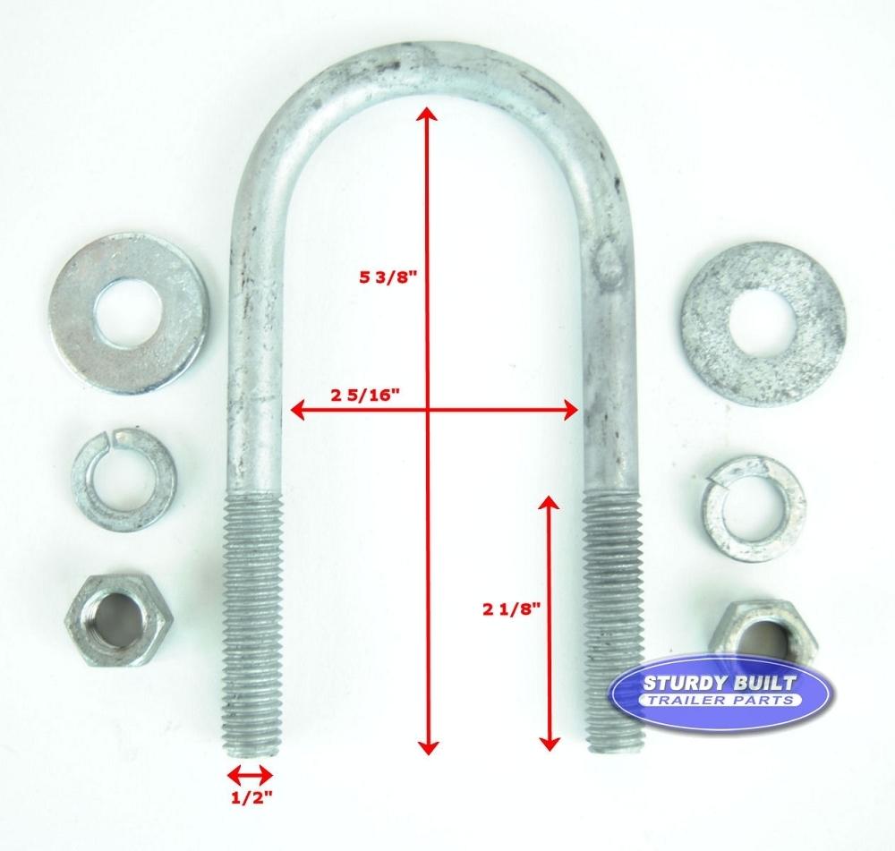Galvanized Round Trailer U-Bolt 1/2 Inch X 2 3/8 Inch X 5 3/