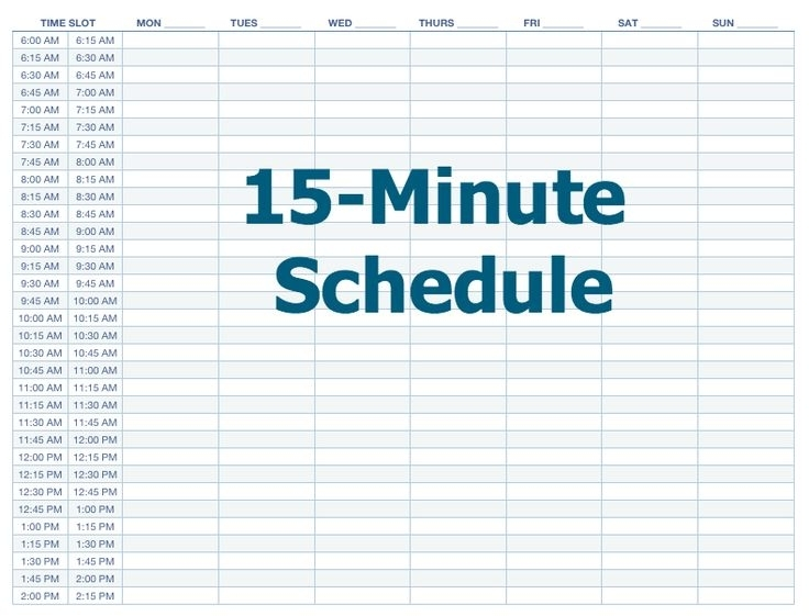 Image Result For 15 Minute Increments Timesheet | Schedule Template, 15 Minutes
