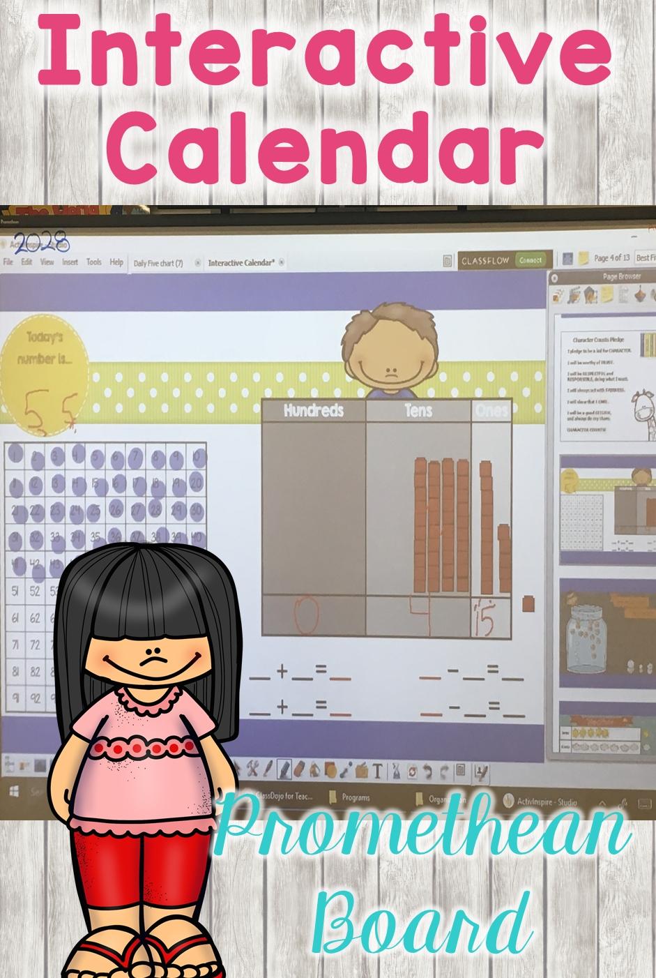 Interactive Calendar Promethean Board | Activinspire | Promethean Board, Kindergarten Calendar
