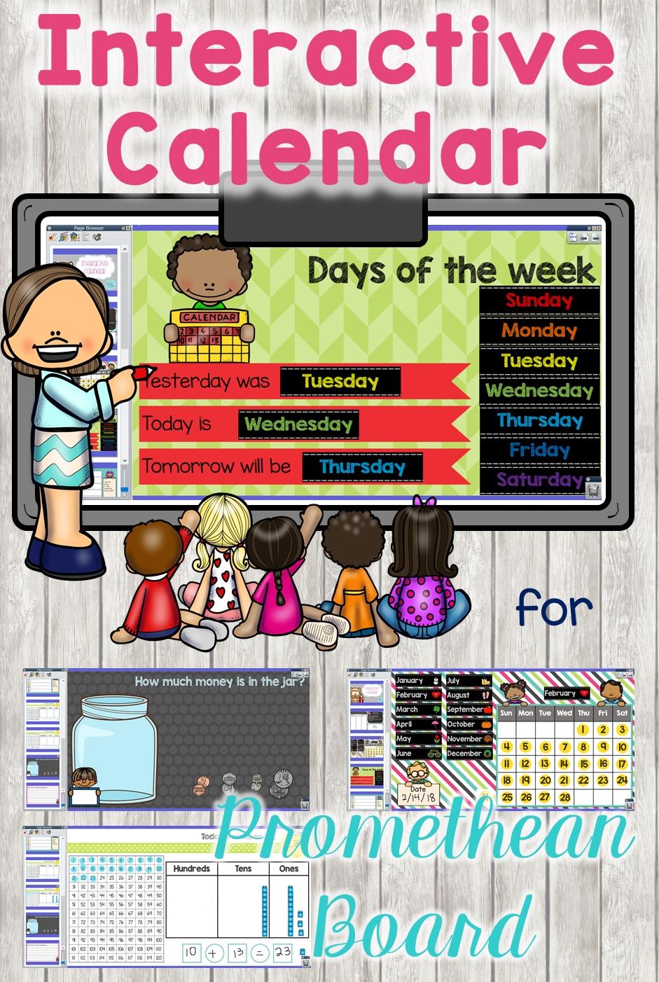 Interactive Calendar Promethean Board   Activinspire   Promethean Board, Smart Board Lessons