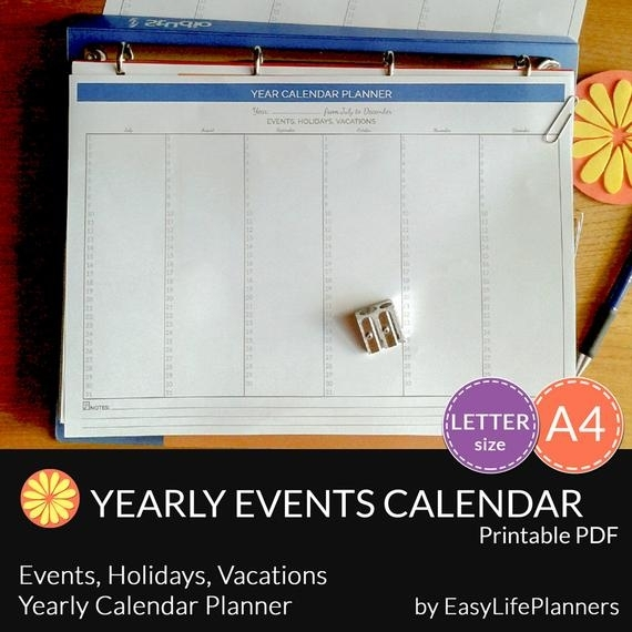 Items Similar To Yearly Calendar And Planner. Letter Size. A4. Perpetual Printable Pdf Organizer