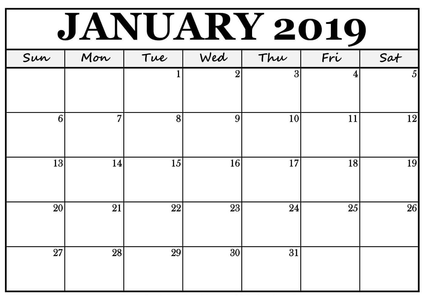 January 2019 Calendar For #Landscape Free Print | November Printable Calendar, Calendar
