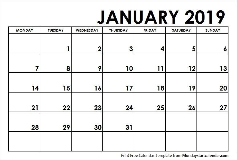 January 2019 Calendar Monday Start | School Calendar, Calendar, Weekly Calendar