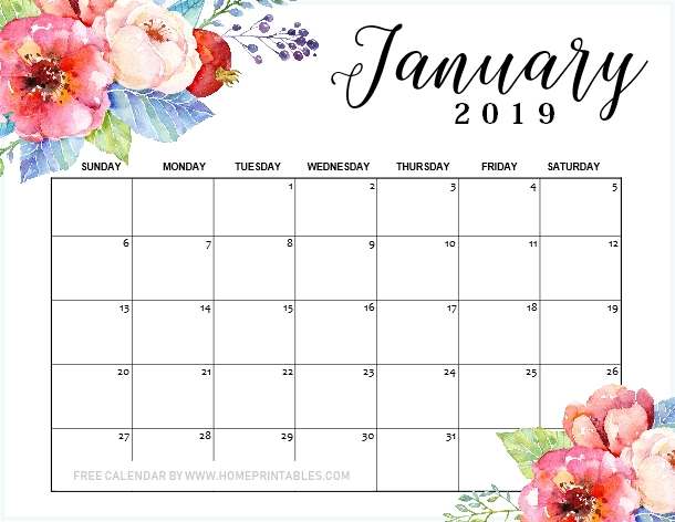 January 2019 Calendar Printable : 10+1 Designs For Free Download!
