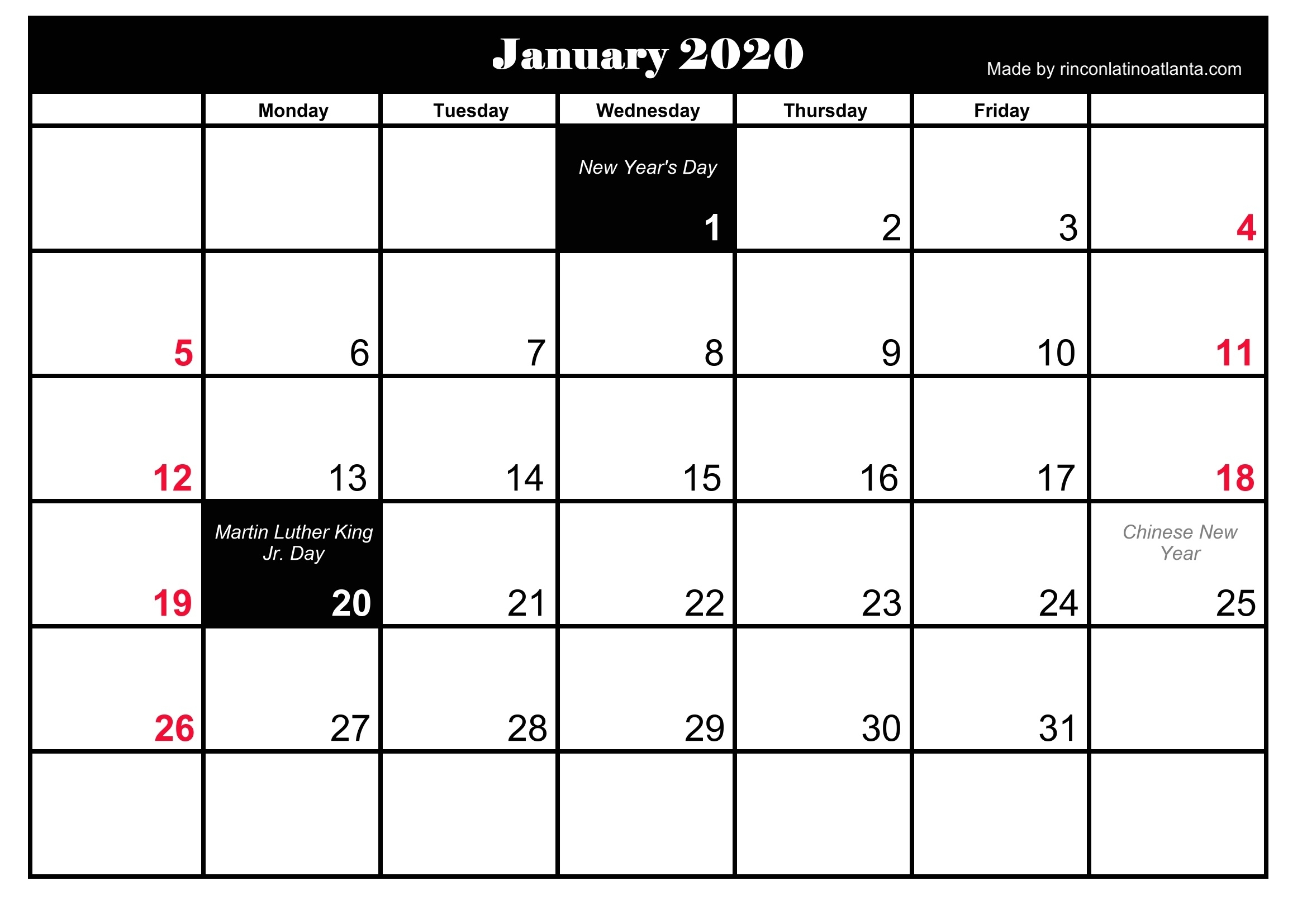 January 2020 Holidays Calendar