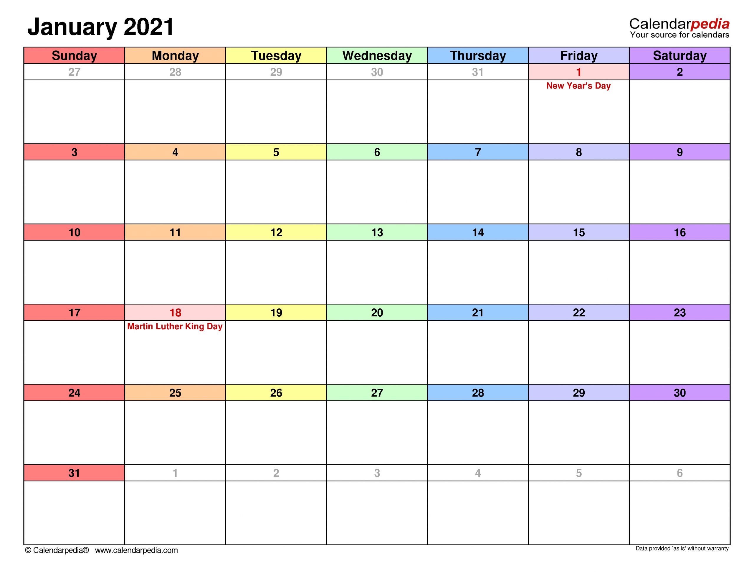 Print Calendars 2021 Year With Room To Writing | Ten Free ...