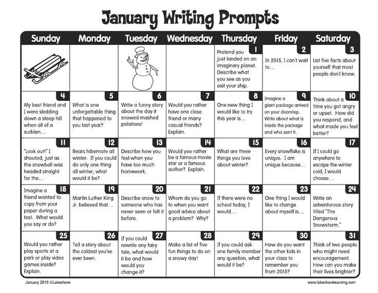 January Writing Prompts: Free Printable Calendar. Thanks Lakeshore Learning! | October Writing