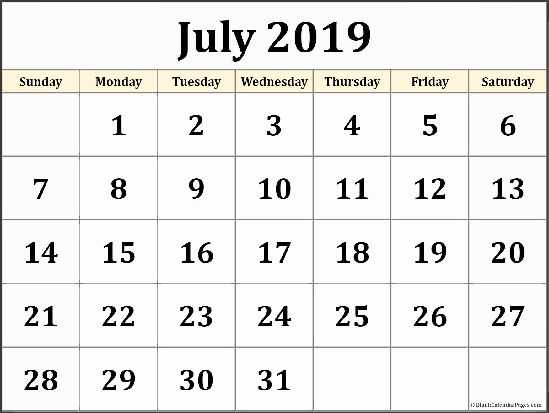 July 2019 Calendar Printable Template In Pdf Word Excel