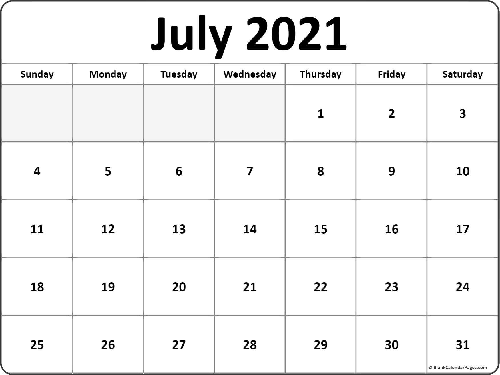 July 2021 Calendar | Free Printable Monthly Calendars