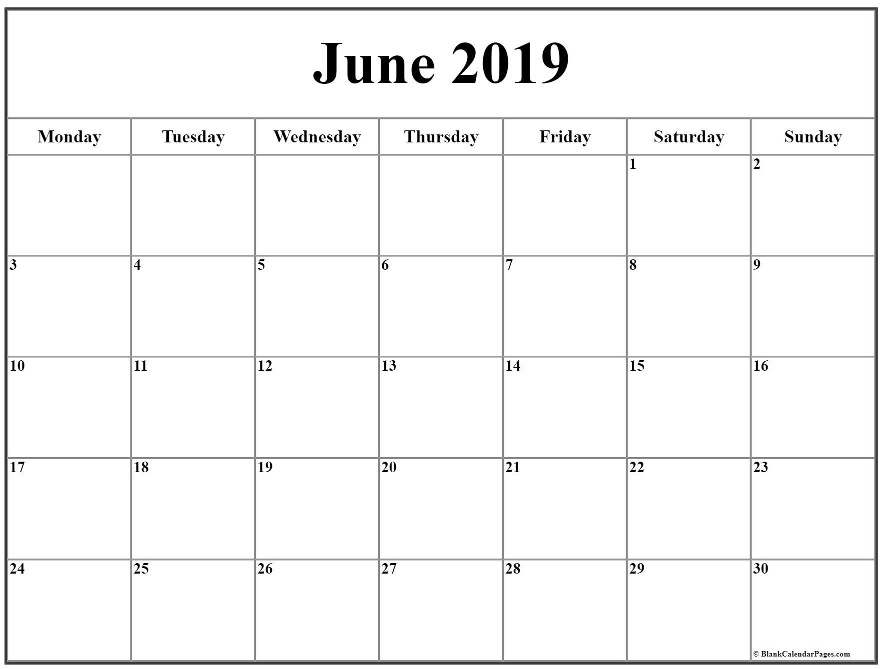 June 2019 Monday Calendar | Monday To Sunday