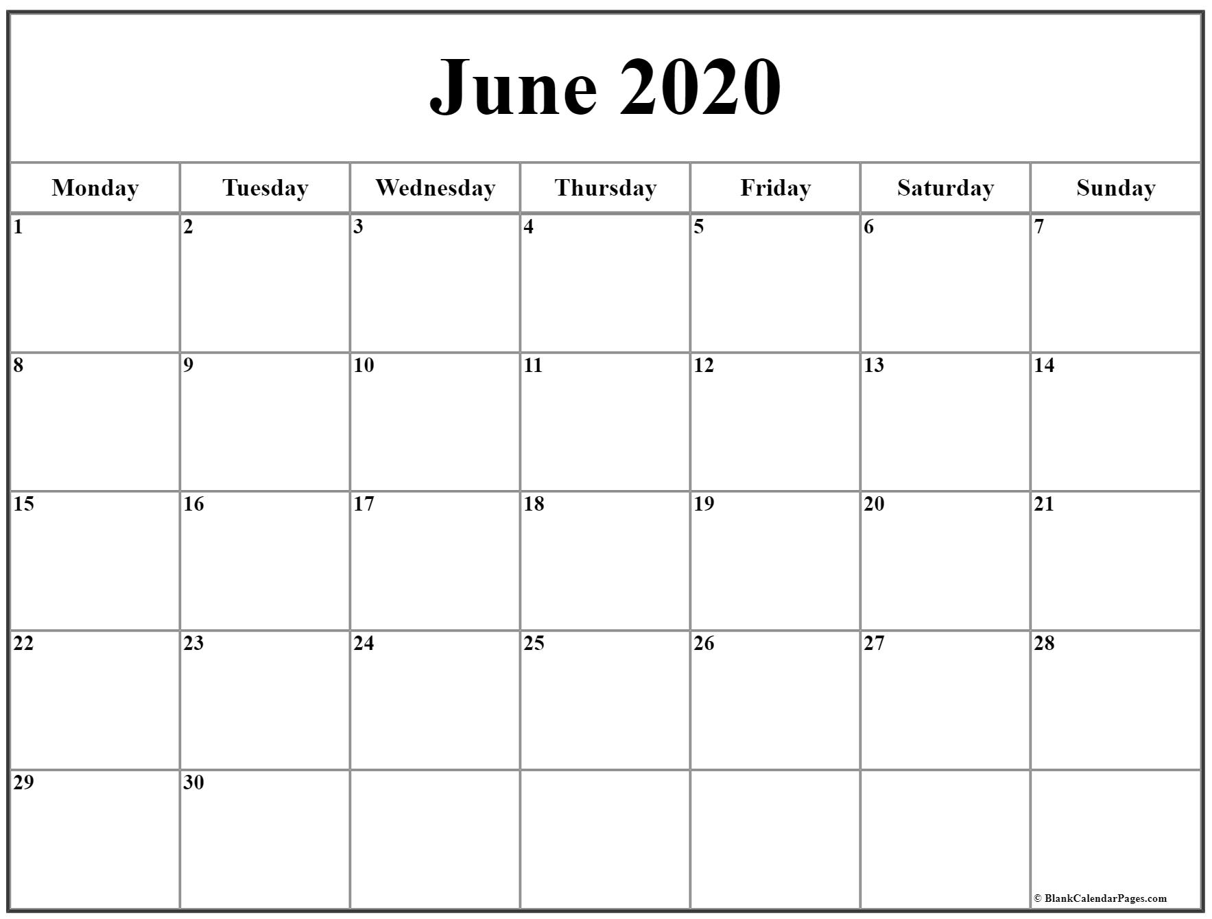 June 2020 Monday Calendar   Monday To Sunday