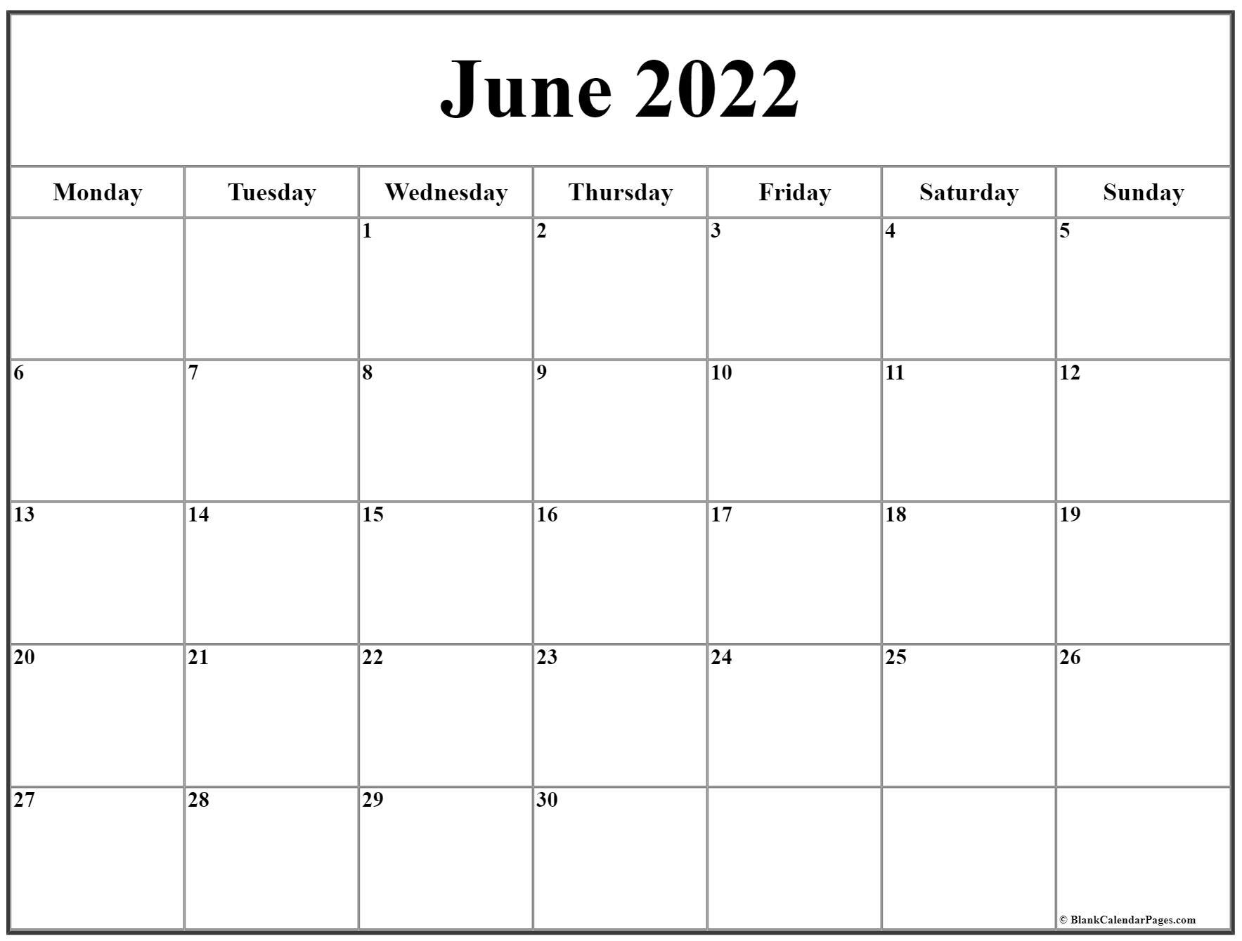 June 2022 Monday Calendar   Monday To Sunday