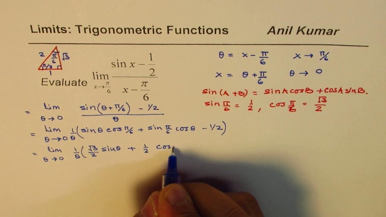 Limit Trigonometric (Sin X - 1/2)(X - Pi/6) Compound Angle - Youtube