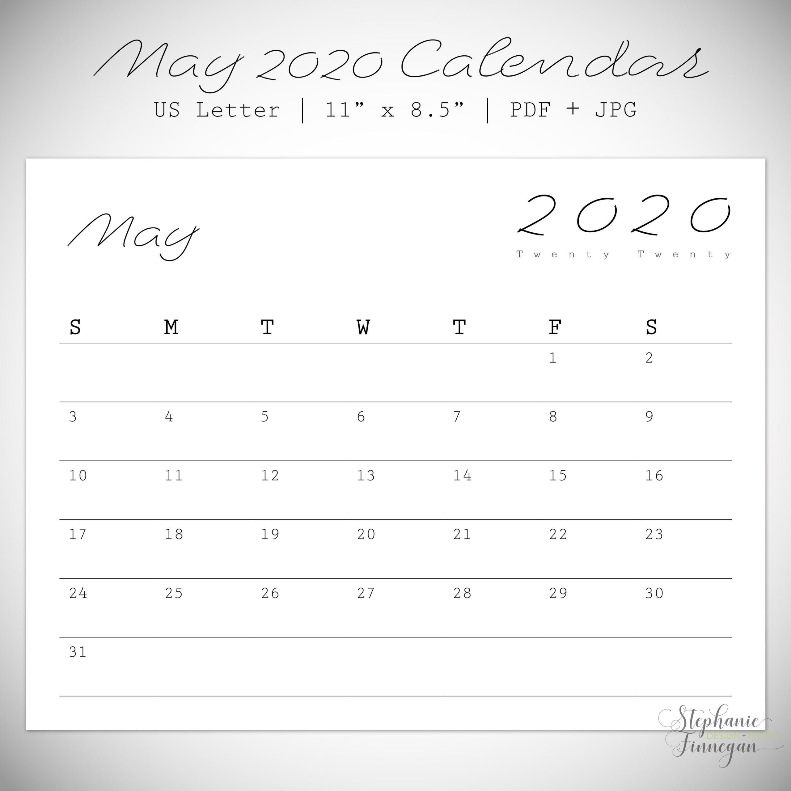 May 2020 Calendar   Printable   Letter Size   Monthly Calendar   May   2020   Print Calendar In