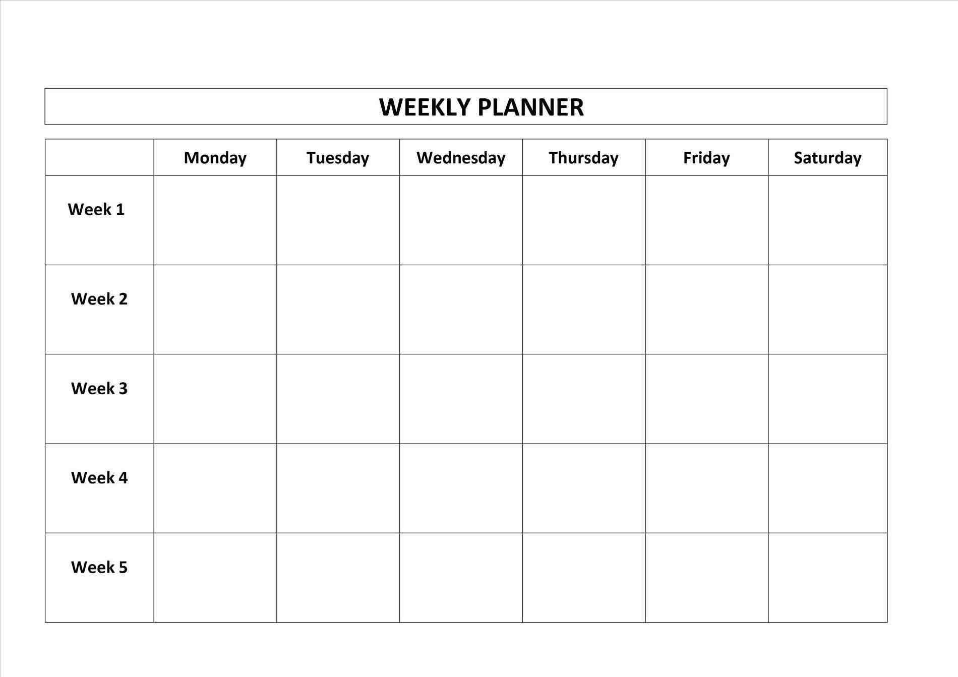 Monday Through Friday Blank Calendar Template - Calendar Inspiration Design