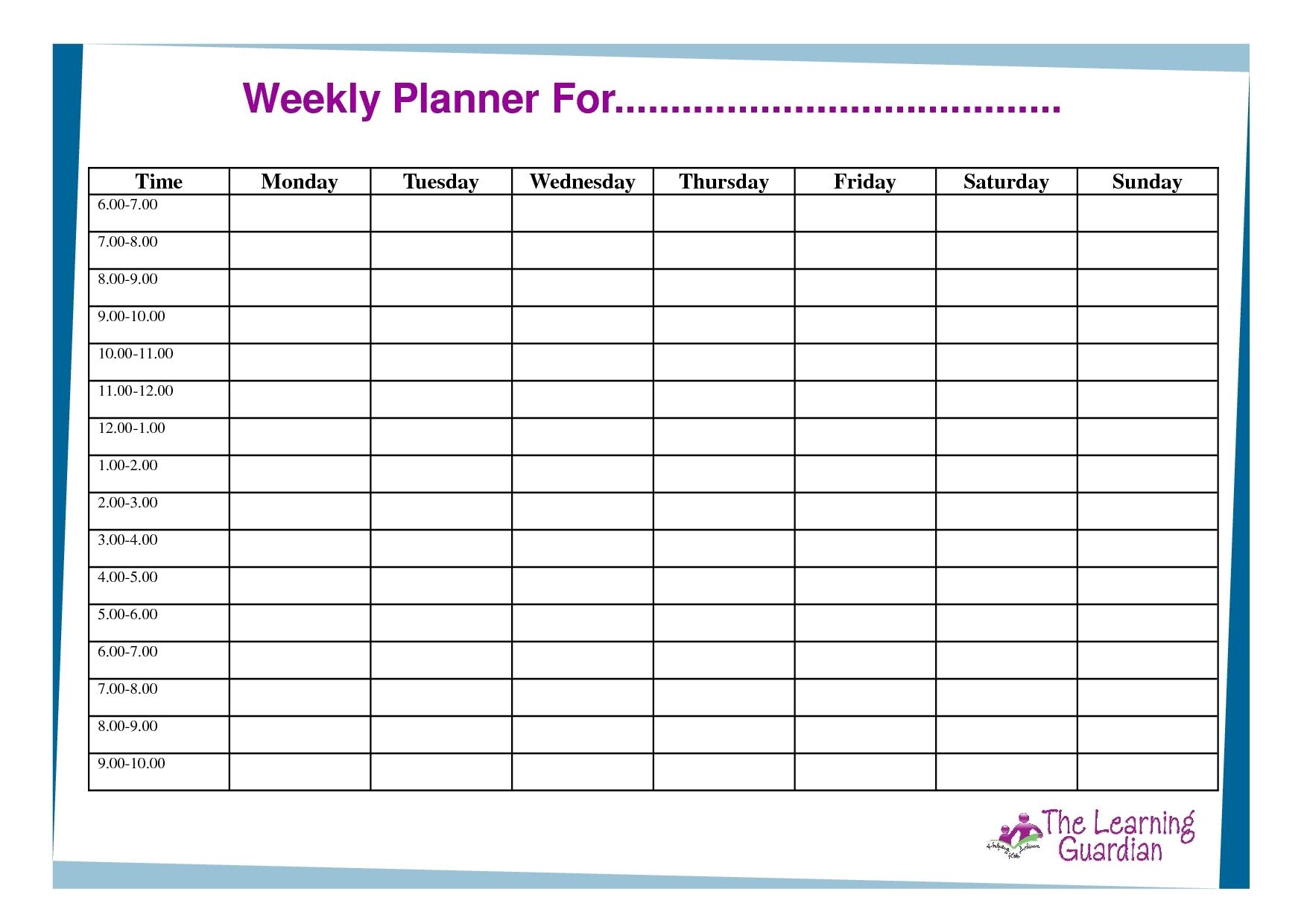 Monday Through Friday Schedule Template | Calendar Template Printable