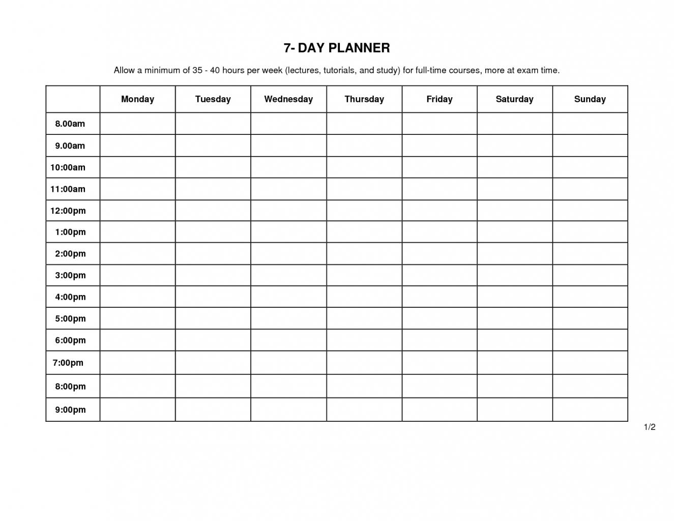 Monday Through Friday Schedule Template   Example Calendar Printable