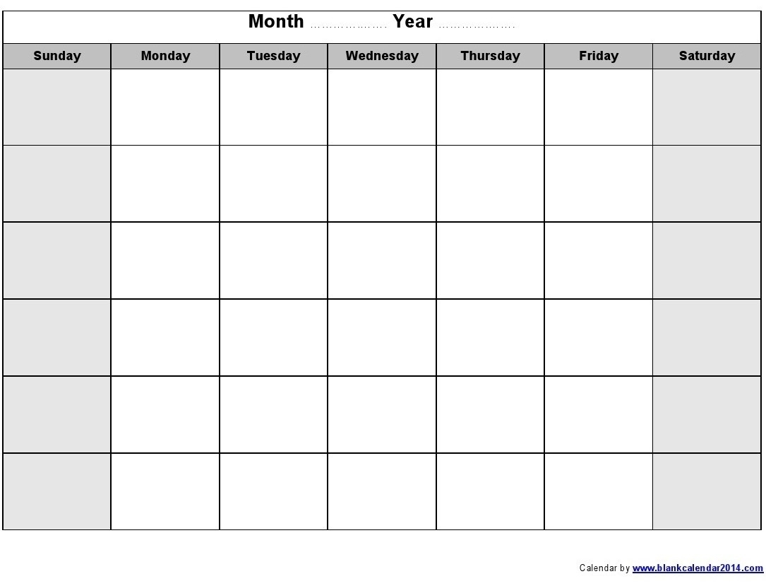 Monday To Friday Blank Calendar   Example Calendar Printable