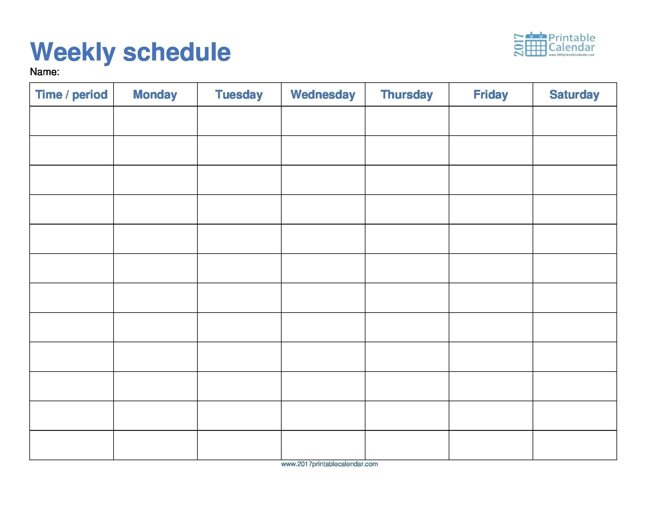 Monday To Friday Schedule Template Calendar Printable Through Sunday Make It Check More At Https