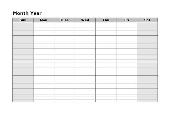 Monthly Blank Calendar - Free Printable Templates