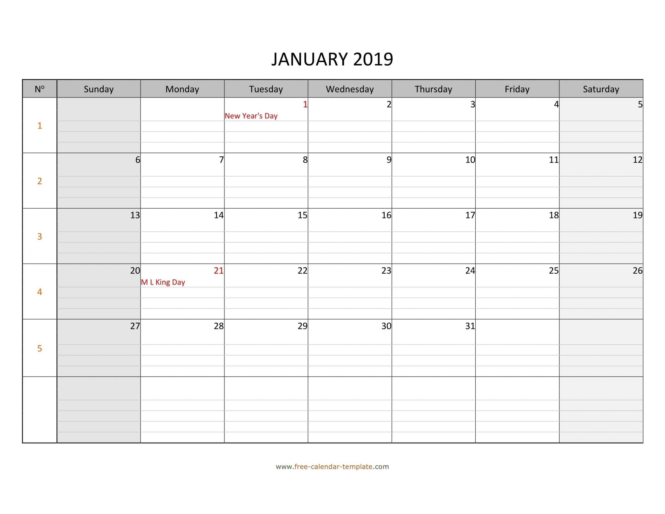 Monthly Monday To Friday Calendar | Calendar Template Printable