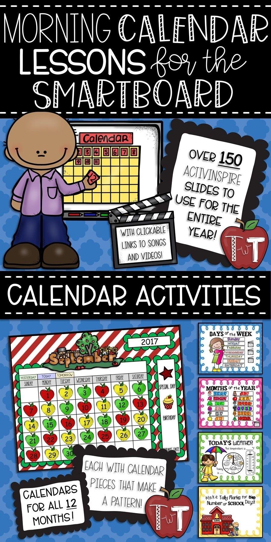 Morning Calendar Lessons For The Smartboard {Activinspire Flipchart Software}   Morning Calendar