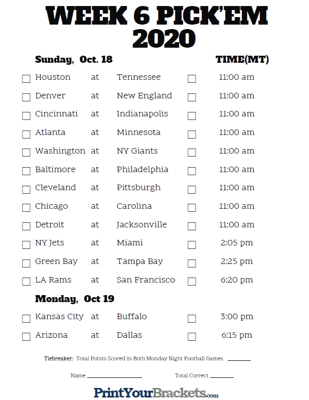 Mountain Time Week 6 Nfl Schedule 2020 - Printable