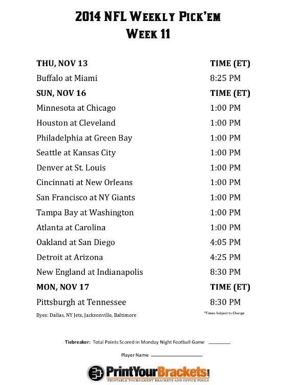 Nfl Week 11 Printable Schedule That Are Modest | Kim Website