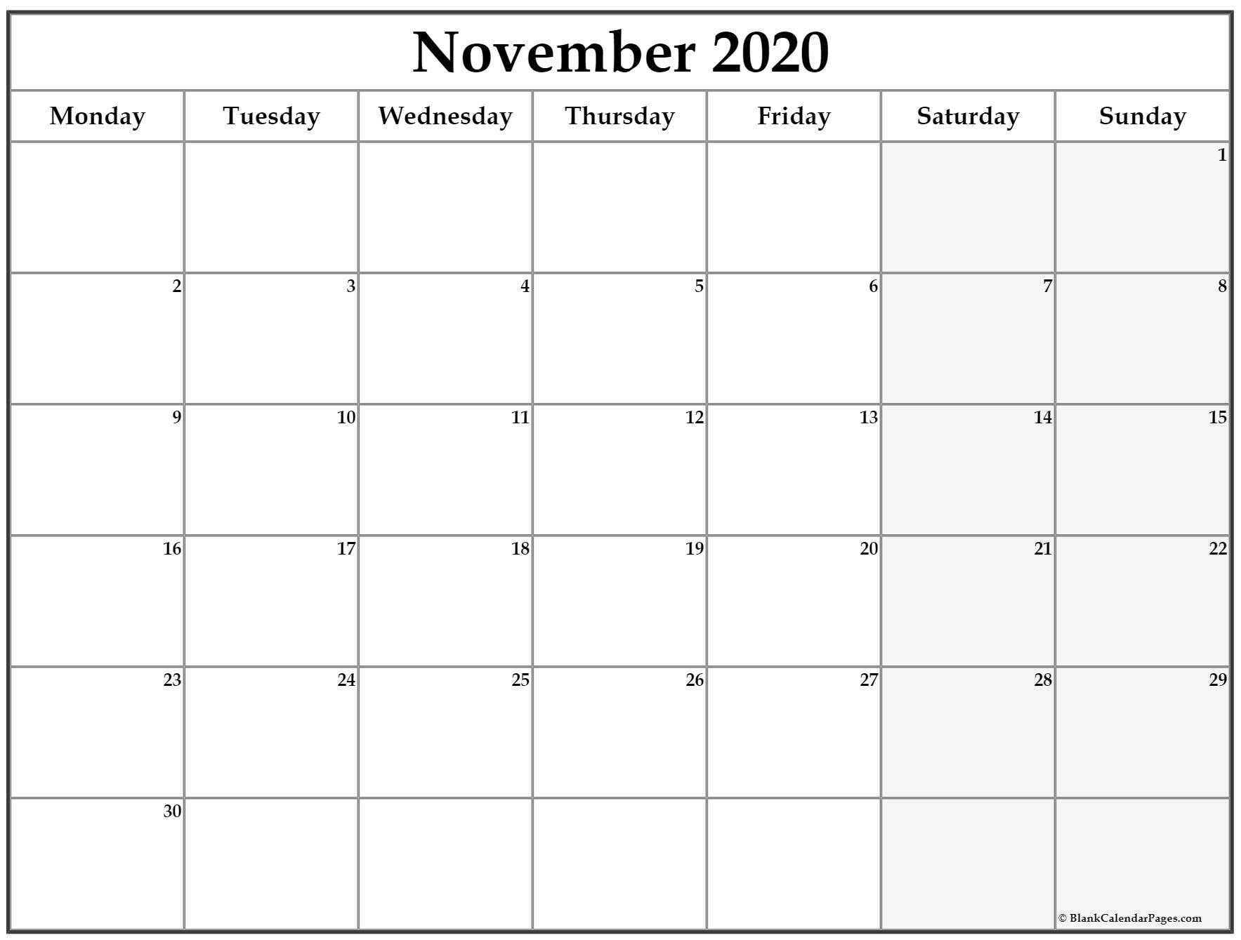 November 2020 Monday Calendar   Monday To Sunday