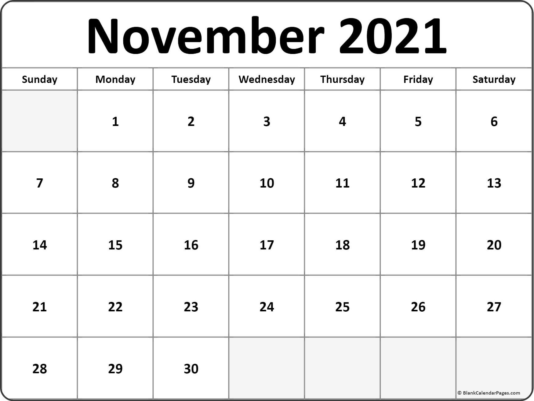 2021 Printable Monthly Calendar | Ten Free Printable ...