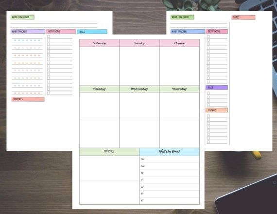 Pastel Week With Dashboard Saturday Start Undated Weekly Notes / Layout / Calendar Template